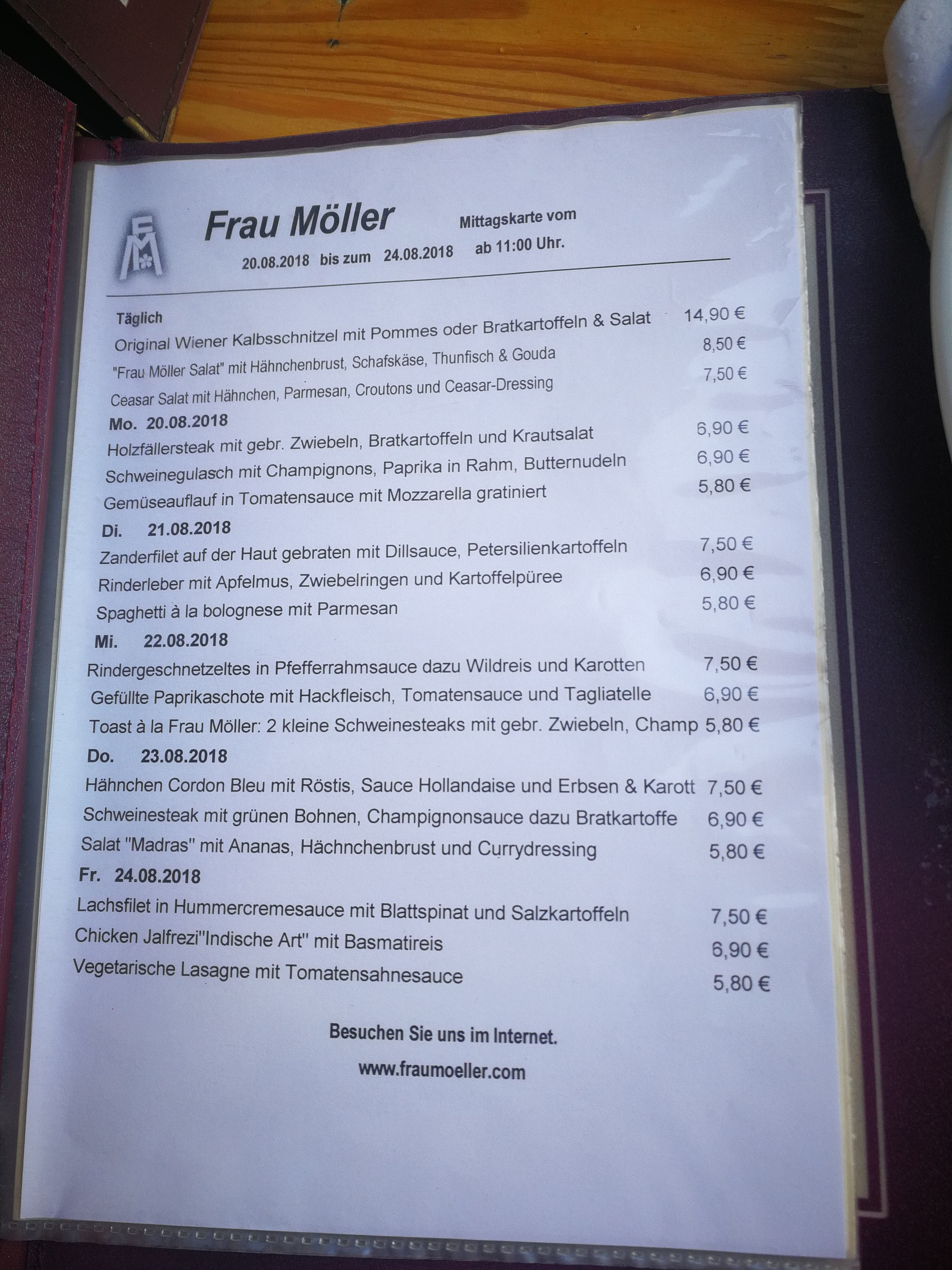 Frau Moller Menu