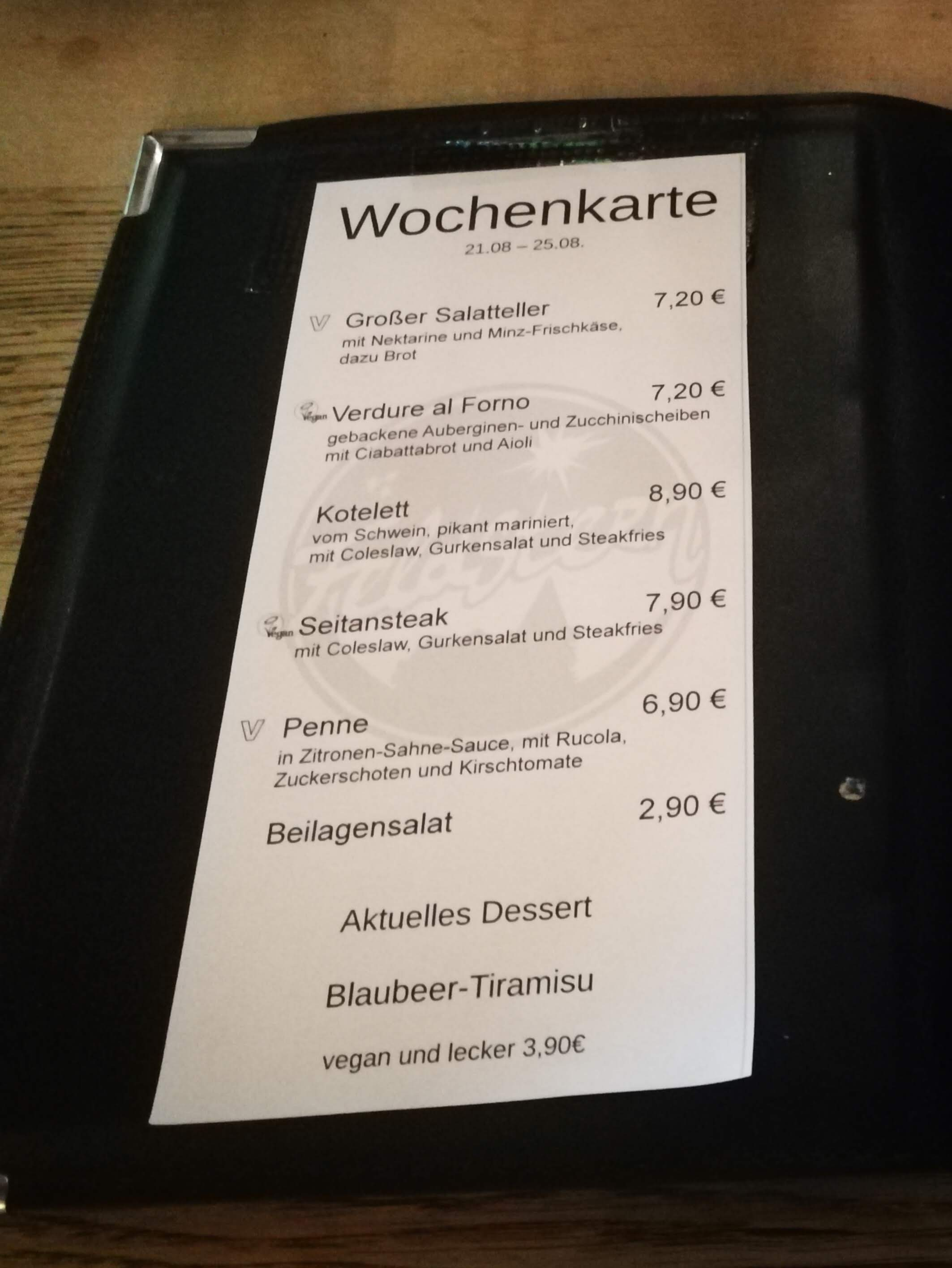 Feldstern Restaurant Menu Hamburg