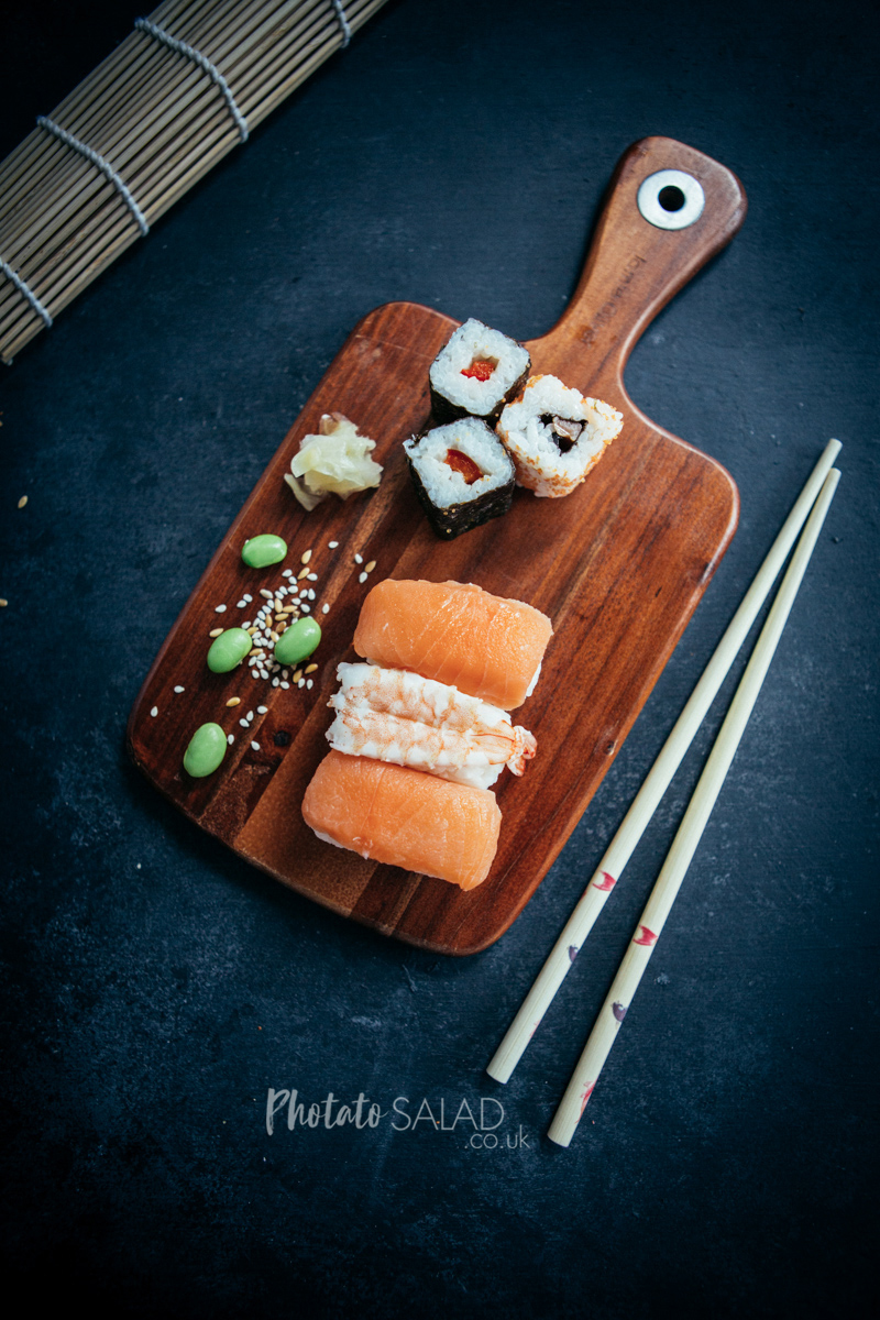 Flatlay of Salmon & Prawn Nigiri Sushi with Pepper Maki