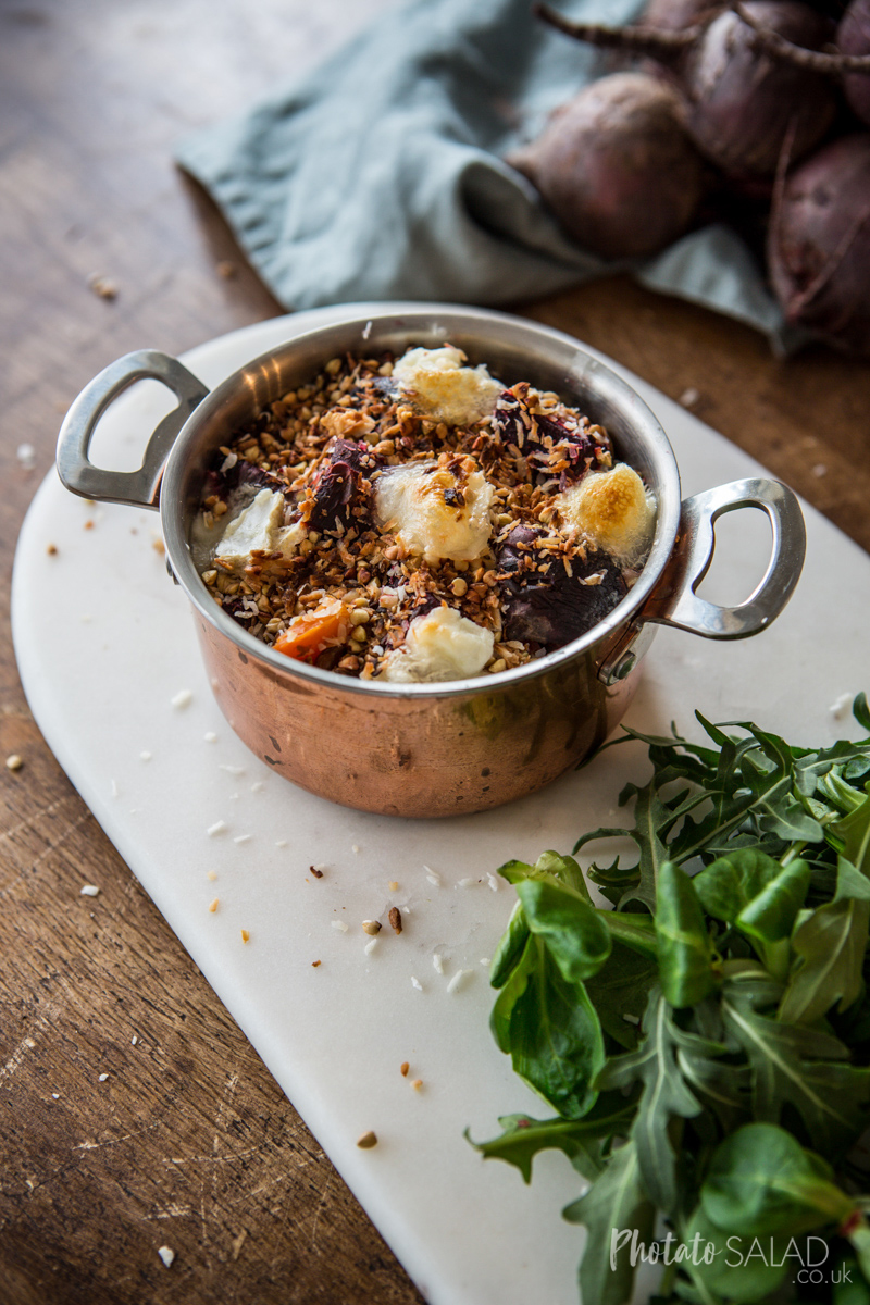 Green Lentil, Beetroot & Goats Cheese Gratin with Crispy Coconut Topping